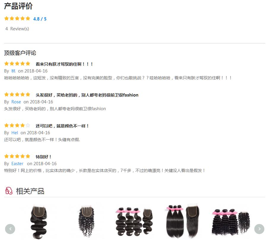 產品詳情頁面評價